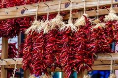 干辣椒Ristras在农夫市场上 库存照片