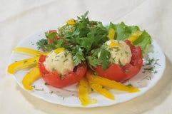 干酪使红色蕃茄有大理石花纹 库存图片