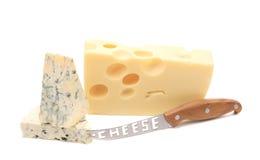 干酪和刀子 库存照片