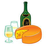 干酪和酒 库存照片