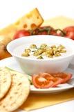 干酪奶油一服务的汤 免版税库存图片