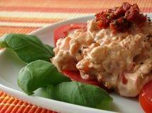 干酪奶油垂度做蕃茄 免版税库存图片