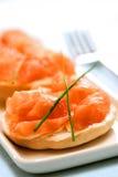 干酪奶油色三文鱼烟 库存图片
