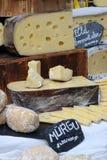干酪接近的一件方形瑞士 图库摄影