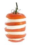 干酪无盐干酪被堆积的蕃茄 免版税库存照片