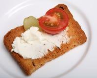 干酪水平的面包干蕃茄 图库摄影