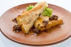 干酪油煎的saganaki 免版税库存照片