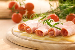 干酪火腿片式 库存照片
