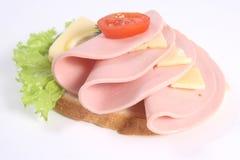 干酪火腿莴苣土豆成熟三明治 免版税库存图片