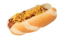 干酪热的辣味热狗 免版税库存图片