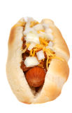 干酪热的辣味热狗 库存照片