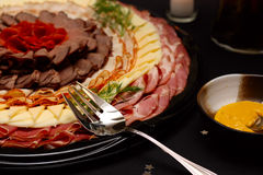 干酪肉盘 免版税图库摄影