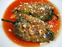 干酪被冠上的智利rellenos 库存图片