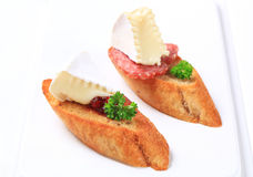 干酪crostini蒜味咸腊肠 免版税库存照片