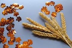 干麦子和金黄叶子 库存照片