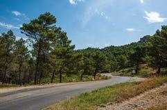 平交道口森林和岩层与蓝色和晴朗的天空,在Baux de普罗旺斯的村庄附近 免版税图库摄影