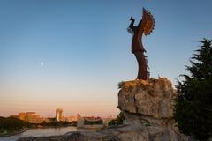 平原的老板在日落的在惠科塔堪萨斯 库存图片