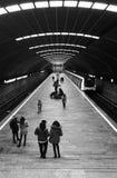 平台等待的火车的人们 免版税库存照片