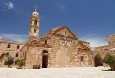 平均观测距离雅库普(雅各布)修道院, Mardin 库存照片