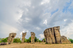 平均观测距离HIn Kao stonehenge泰国 库存照片