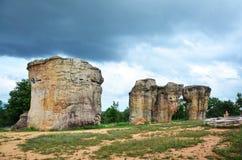 平均观测距离Hin Khao或者Phu Laenkha国民同水准的泰国巨石阵 免版税库存图片