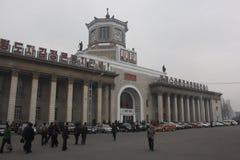 平壤火车站外部  免版税库存照片