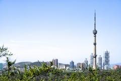 平壤电视塔的看法 平壤, DPRK -北朝鲜 库存照片