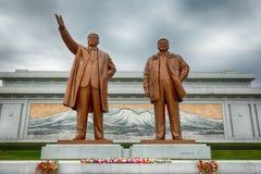 平壤,北部KOREA-OCTOBER 13,2017 :对金日成的纪念碑 免版税库存照片