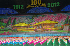 平壤- 2012年8月8日:最大的展示在世界上- Ariran 免版税库存照片