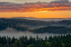 平安的乡下风景早晨 免版税库存照片