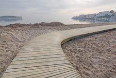 平安的塔拉曼卡海滩 免版税库存图片