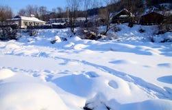 平安的村庄在冬天 库存照片