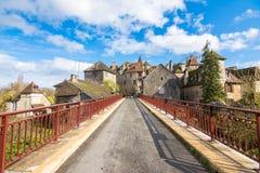 平安的村庄carennac,法国 库存图片