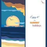 平安的海日落全景 温暖的调色板 加利福尼亚海报火轮葡萄酒 库存例证