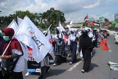 平安的组织在日惹保卫巴勒斯坦 免版税库存图片