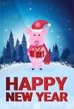 平展充分猪藏品礼物盒佩带的帽子杉树冬天森林风景新年快乐圣诞快乐的概念 向量例证