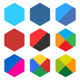 平展删去被环绕的六角形象集合网按钮 库存图片