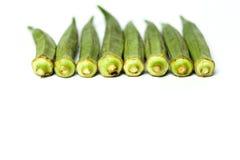 平展被放置的秋葵 免版税图库摄影