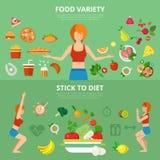 平展infographic妇女亭亭玉立的生活方式的传染媒介:健康和健身 皇族释放例证