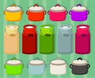 平底深锅和大罐在不同颜色 向量例证
