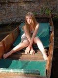 平底船河 库存照片