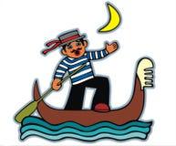 平底船的船夫月光唱歌 免版税库存图片