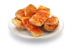 平底锅骗局tomate,西班牙蕃茄面包 库存照片