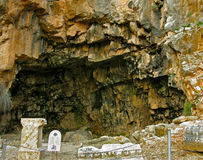 平底锅洞穴在Banyas,以色列 库存图片