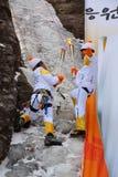 平昌郡2018个奥林匹克火炬传递登山人在雪岳山 免版税库存图片