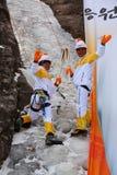 平昌郡2018个奥林匹克火炬传递登山人在雪岳山 库存图片