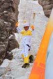 平昌郡2018奥林匹克火炬传递登山人在雪岳山 图库摄影