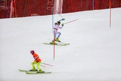 平昌郡3月2018 18日 妇女` s障碍滑雪奔跑1 免版税库存图片