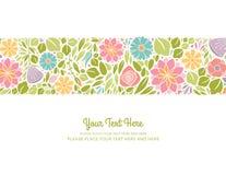 水平春天的花卉设计 免版税库存照片