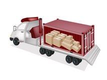 平板车在货物Conta的拖车装载的纸箱 库存照片